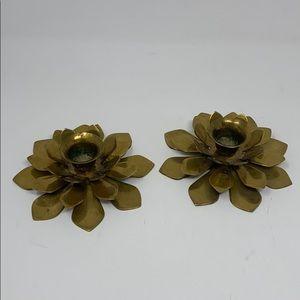 Vintage Brass Lotus Candlestick holders